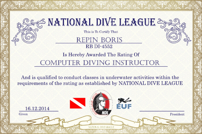 Репин Борис - сертификат инструктора по декомпресиметрам (подводным компьютерам)