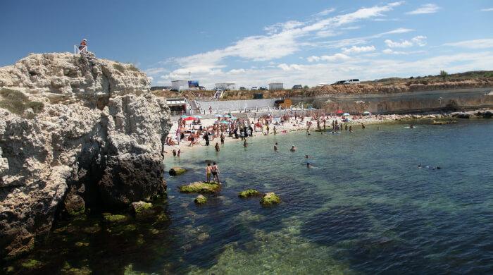 Пляж Голубая бухта. Вид с моря