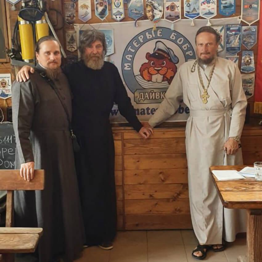 Епископ Иосиф, архимандрит Тихон и протоиерей Федор  Конюхов