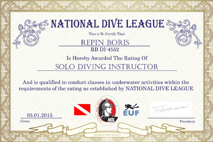 Репин Борис - сертификат инструктора NDL по соло дайвингу
