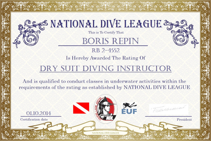 Фото сертификата Бориса Репина Dry Suit Diving Instructor