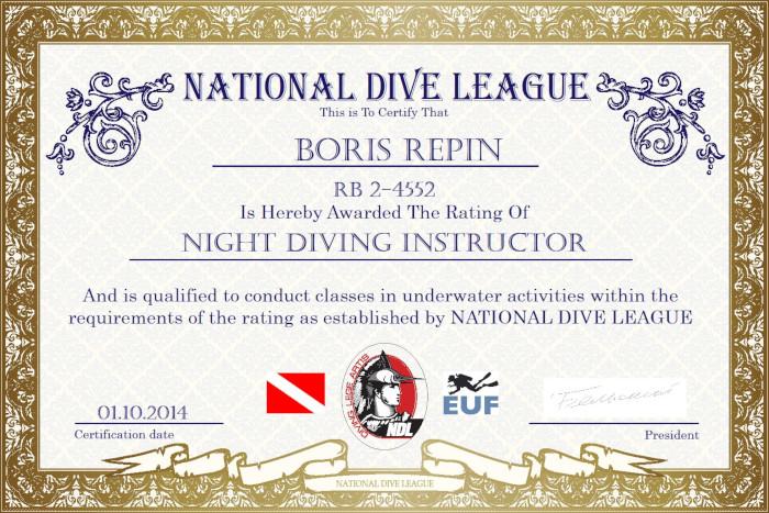 Фото сертификата Бориса Репина Night Diving Instructor
