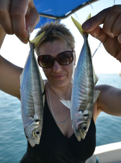 Рыбалка в Севастополе. Женщина хвастается пойманой ставридой.