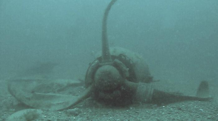 Мотор от самолета, лежащий под водой. Фото