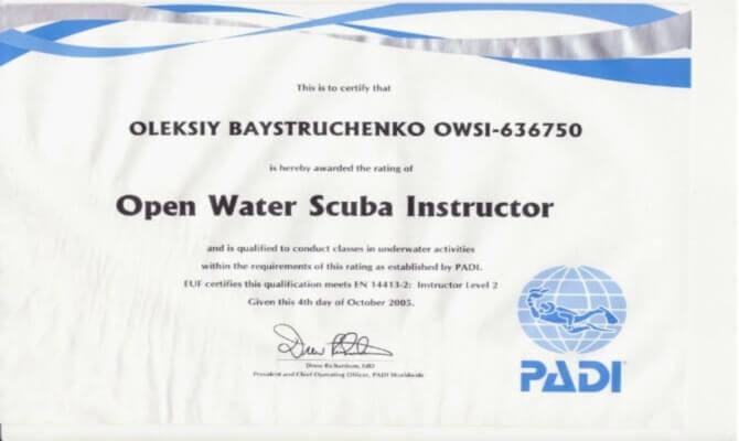 Сертификат Байструченко - инструктор PADI