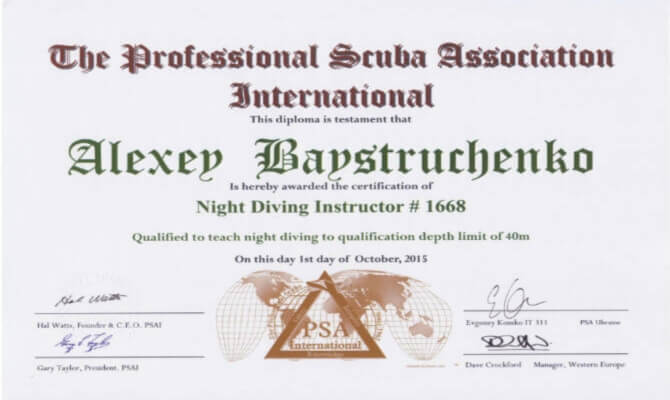 Сертификат Байструченко - Night Diving Instructor # 1668