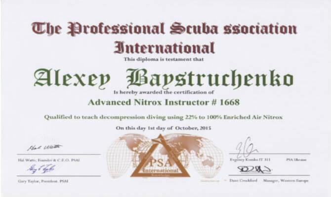 Сертификат Байструченко - Advanced Nitrox Instructor # 1668