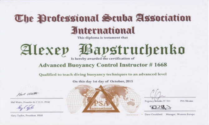 Сертификат Байструченко - Advanced Buoyancy Control Instructor # 1668