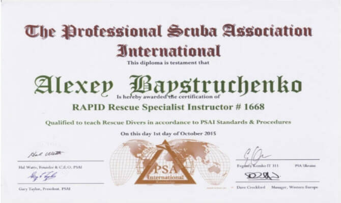 Сертификат Байструченко - RAPID Rescue Specialist Instructor # 1668
