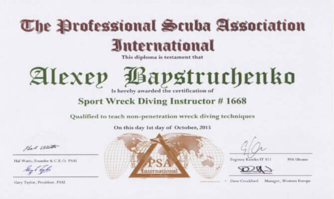 Сертификат Байструченко - Sport Wreck Diving Instructor # 1668
