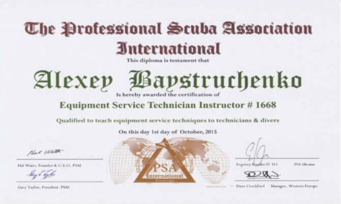 Сертификат Байструченко - Equipment Service Technician Instructor # 1668