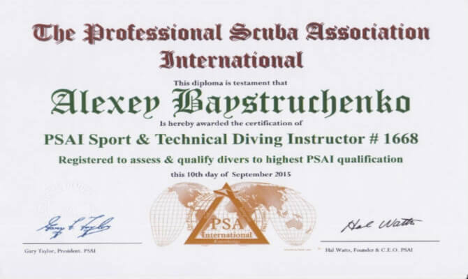 Сертификат Байструченко - PSAI Sport & Technical Diving Instructor # 1668