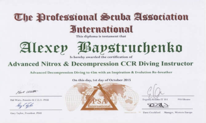 Сертификат Байструченко - Advanced Nitrox & Decompression CCR Diving Instructor