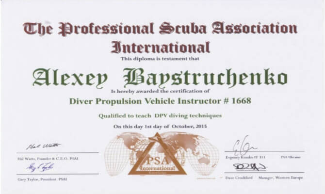 Сертификат Байструченко - Diver Propulsion Vehcle Instructor # 1668
