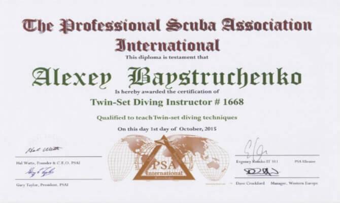 Сертификат Байструченко - Twin-Set Diving Instructor # 1668