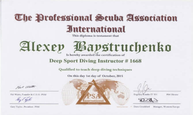 Сертификат Байструченко - Deep Sport Diving Instructor # 1668