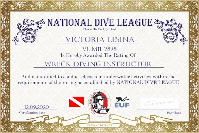 Фото сертификата Виктории Лесиной Wreck Diving Instructor