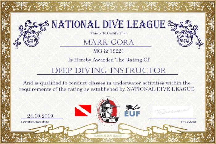 Фото сертификата Марка Гора Deep Diving Instructor NDL
