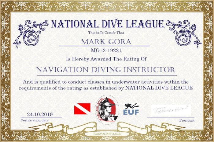 Фото сертификата Марка Гора Navigation Diving Instructor NDL