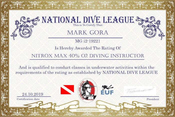Фото сертификата Марка Гора Nitrox Instructor NDL