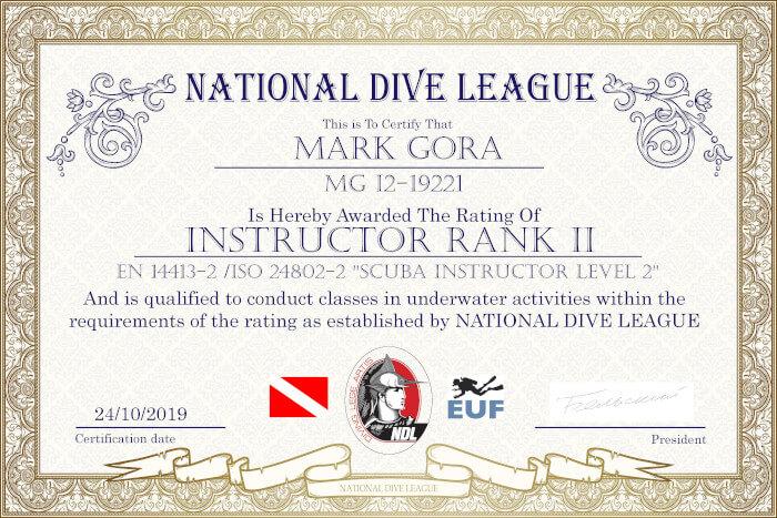 Фото сертификата Марка Горы Insructor NDL Rank 2