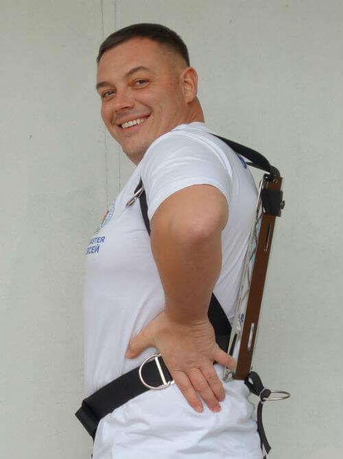 Фото правильного положения бокового D-кольца в подвеске Хогарта от Dive Rite