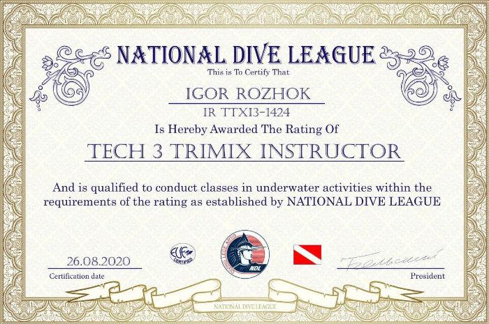 Фото сертификата Игоря Рожка Tech 3 Trimix Insructor NDL
