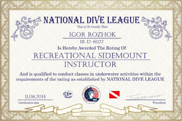 Фото сертификата Игоря Рожка Sidemount Insructor NDL