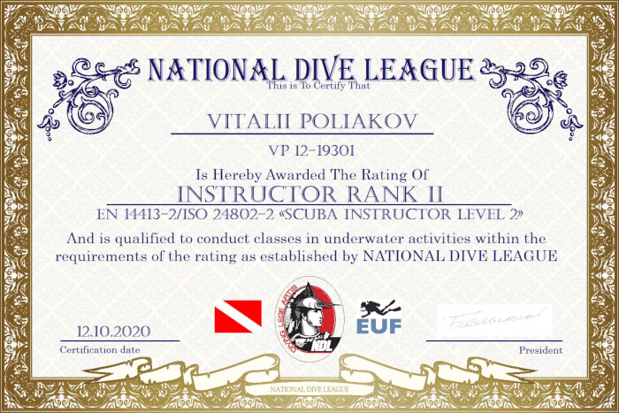 Фото сертификата Виталия Полякова Instructor NDL Rank 2