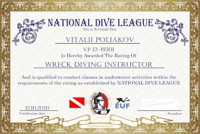 Фото сертификата Виталия Полякова Wreck Diving Instructor