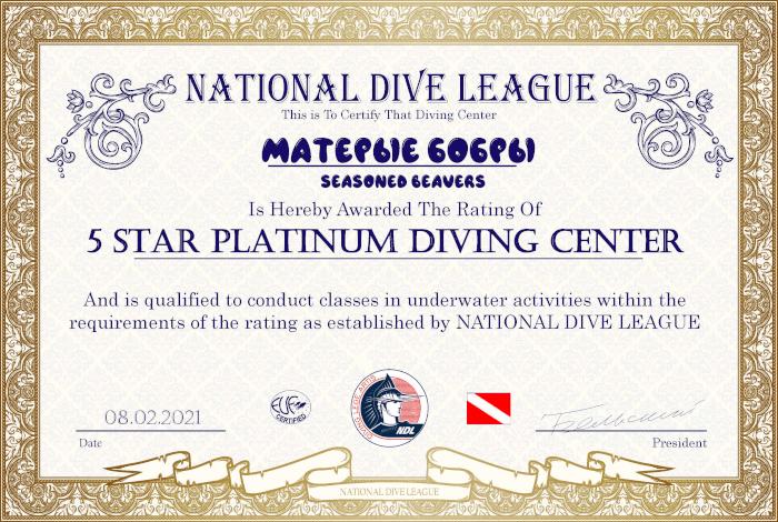 Сертификат 5 Star Platinum Diving Center NDL