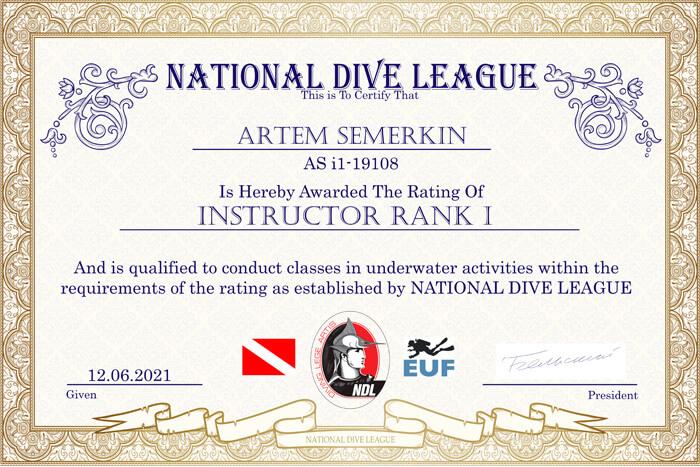 Фото сертификата Артема Семеркина Instructor NDL Rank 1